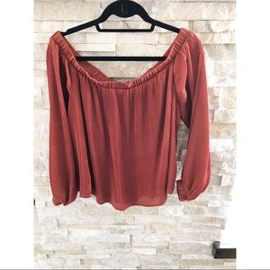 JOA Off Shoulder All Over Pleated Blouse